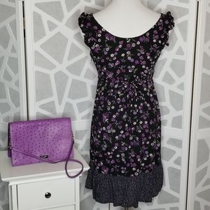 MOSSIMO Black & Purple Floral Dress Size Med